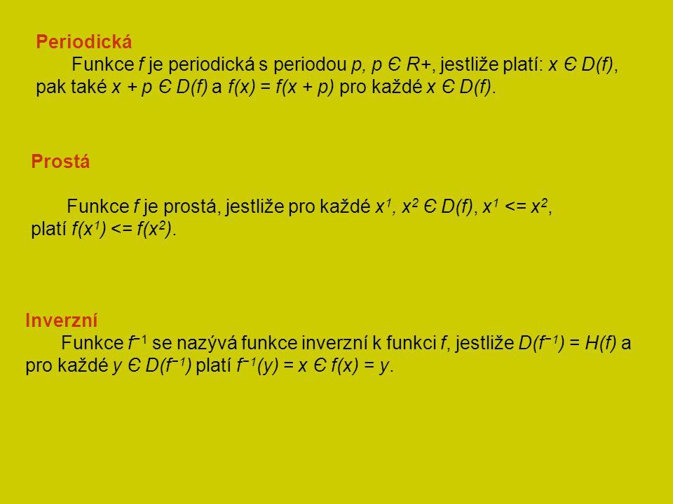 Periodická Funkce f je periodická s periodou p, p Є R+, jestliže platí: x Є D(f), pak také x + p Є D(f) a f(x) = f(x + p) pro každé x Є D(f).