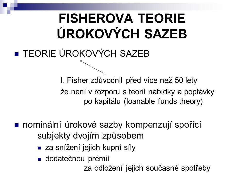 FISHEROVA TEORIE ÚROKOVÝCH SAZEB TEORIE ÚROKOVÝCH SAZEB I. Fisher zdůvodnil před více než 50 lety že není v rozporu s teorií nabídky a poptávky po kap