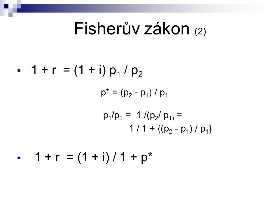 Fisherův zákon (2)  1 + r = (1 + i) p 1 / p 2 p* = (p 2 - p 1 ) / p 1 p 1 /p 2 = 1 /(p 2 / p 1) = 1 / 1 + {(p 2 - p 1 ) / p 1 }  1 + r = (1 + i) / 1