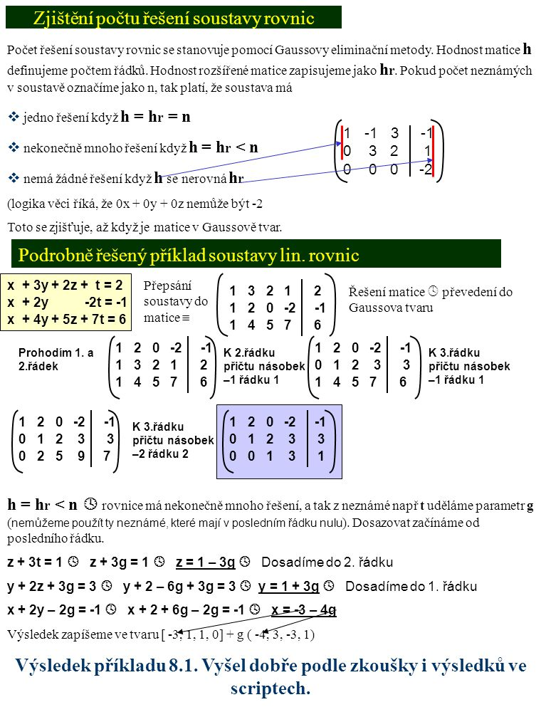 Homogenní matice – příklad 8.2 Nehomogenní matice – příklad 8.3 x – 2y – z + 3t = 0 3x – 5y – 2z + 7 t = 0 -x + 2y – 2z – 2t = 0 Přepsání soustavy do matice  1 -2 -1 3 0 3 -5 -2 7 0 -1 2 -2 -2 0 K 2.řádku přičtu –3 násobek řádku 1 1 -2 -1 3 0 0 1 1 -2 0 -1 2 -2 -2 0 K 3.řádku přičtu řádek 1 1 -2 -1 3 0 0 1 1 -2 0 0 0 -3 1 0 -3z + t = 0  -3g + t = 0  t = 3g  Dosadíme do 2.
