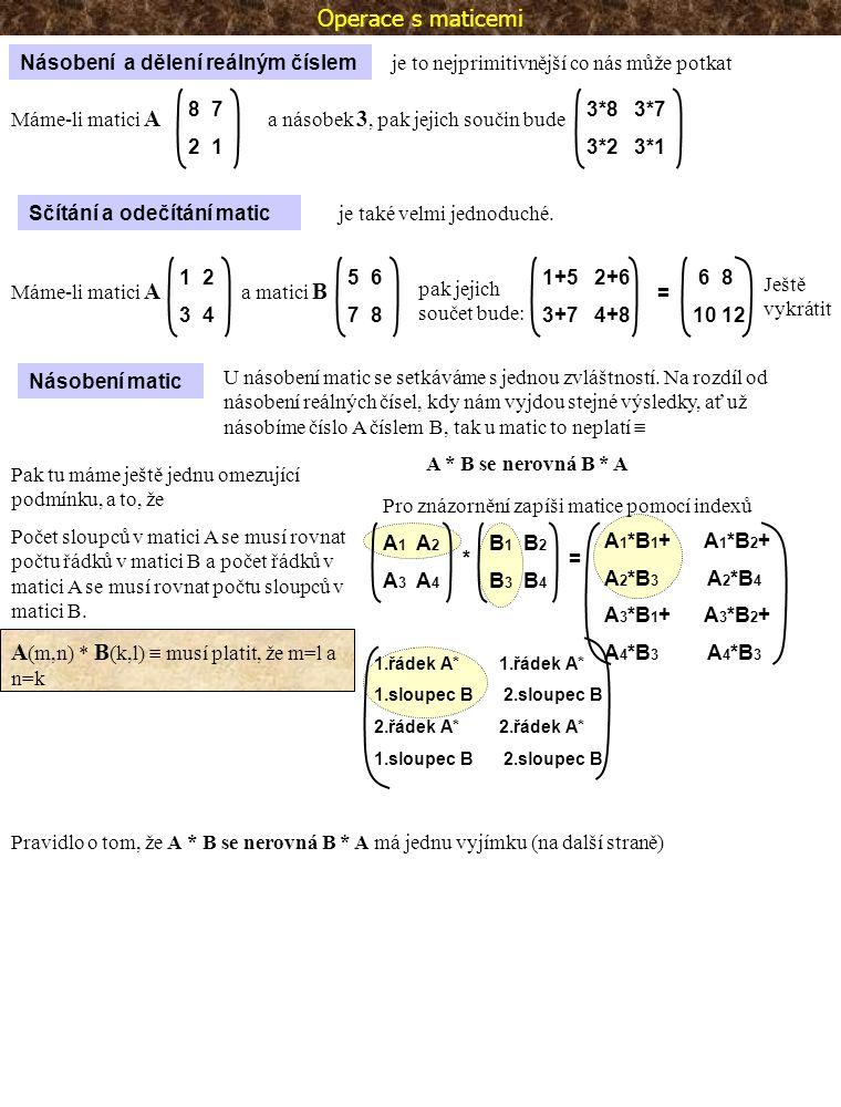 Inverzní matice Jednotková matice Inverzní matice A je maticí obrácenou k matici A.