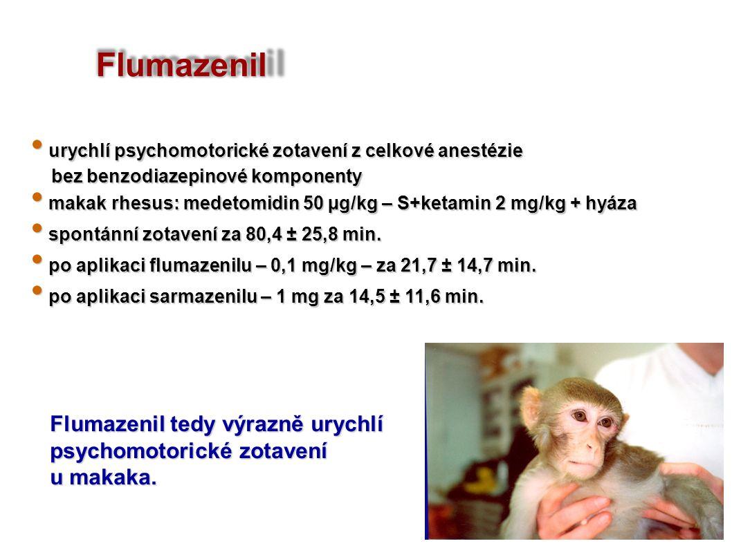 Flumazenil urychlí psychomotorické zotavení z celkové anestézie urychlí psychomotorické zotavení z celkové anestézie bez benzodiazepinové komponenty bez benzodiazepinové komponenty makak rhesus: medetomidin 50 µg/kg – S+ketamin 2 mg/kg + hyáza makak rhesus: medetomidin 50 µg/kg – S+ketamin 2 mg/kg + hyáza spontánní zotavení za 80,4 ± 25,8 min.