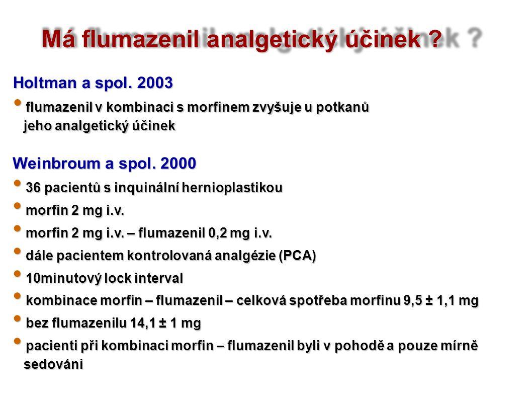 Má flumazenil analgetický účinek ? Weinbroum a spol. 2000 36 pacientů s inquinální hernioplastikou 36 pacientů s inquinální hernioplastikou morfin 2 m