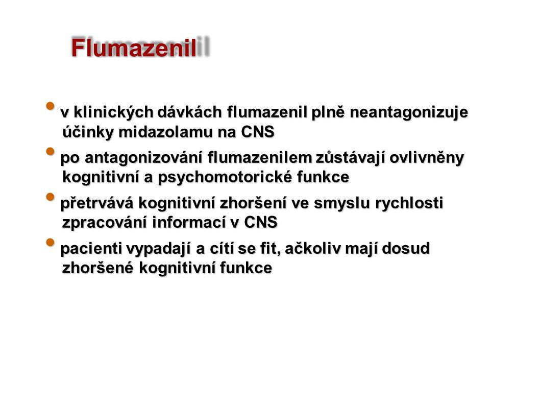 v klinických dávkách flumazenil plně neantagonizuje v klinických dávkách flumazenil plně neantagonizuje účinky midazolamu na CNS účinky midazolamu na CNS po antagonizování flumazenilem zůstávají ovlivněny po antagonizování flumazenilem zůstávají ovlivněny kognitivní a psychomotorické funkce kognitivní a psychomotorické funkce přetrvává kognitivní zhoršení ve smyslu rychlosti přetrvává kognitivní zhoršení ve smyslu rychlosti zpracování informací v CNS zpracování informací v CNS pacienti vypadají a cítí se fit, ačkoliv mají dosud pacienti vypadají a cítí se fit, ačkoliv mají dosud zhoršené kognitivní funkce zhoršené kognitivní funkce Flumazenil