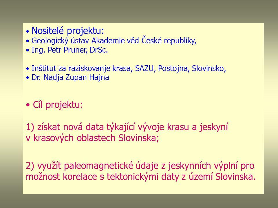 Nositelé projektu: Geologický ústav Akademie věd České republiky, Ing.