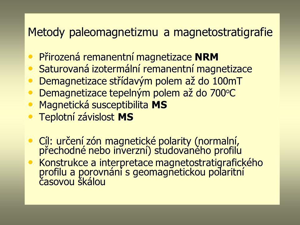 Metody paleomagnetizmu a magnetostratigrafie Přirozená remanentní magnetizace NRM Přirozená remanentní magnetizace NRM Saturovaná izotermální remanentní magnetizace Saturovaná izotermální remanentní magnetizace Demagnetizace střídavým polem až do 100mT Demagnetizace střídavým polem až do 100mT Demagnetizace tepelným polem až do 700 o C Demagnetizace tepelným polem až do 700 o C Magnetická susceptibilita MS Magnetická susceptibilita MS Teplotní závislost MS Teplotní závislost MS Cíl: určení zón magnetické polarity (normalní, přechodné nebo inverzní) studovaného profilu Cíl: určení zón magnetické polarity (normalní, přechodné nebo inverzní) studovaného profilu Konstrukce a interpretace magnetostratigrafického profilu a porovnání s geomagnetickou polaritní časovou škálou Konstrukce a interpretace magnetostratigrafického profilu a porovnání s geomagnetickou polaritní časovou škálou