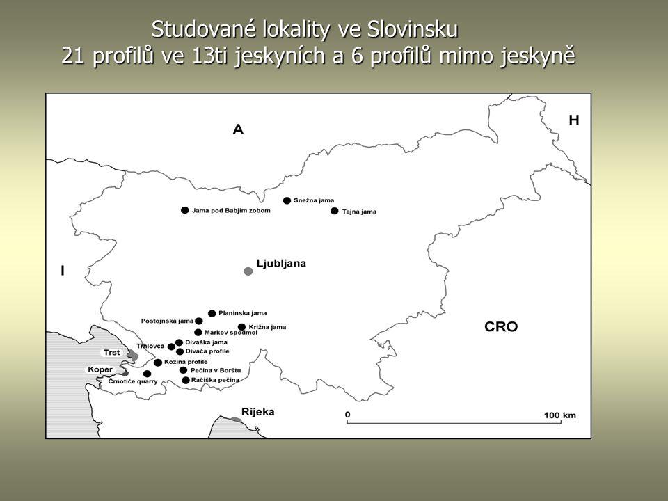 Studované lokality ve Slovinsku 21 profilů ve 13ti jeskyních a 6 profilů mimo jeskyně Studované lokality ve Slovinsku 21 profilů ve 13ti jeskyních a 6