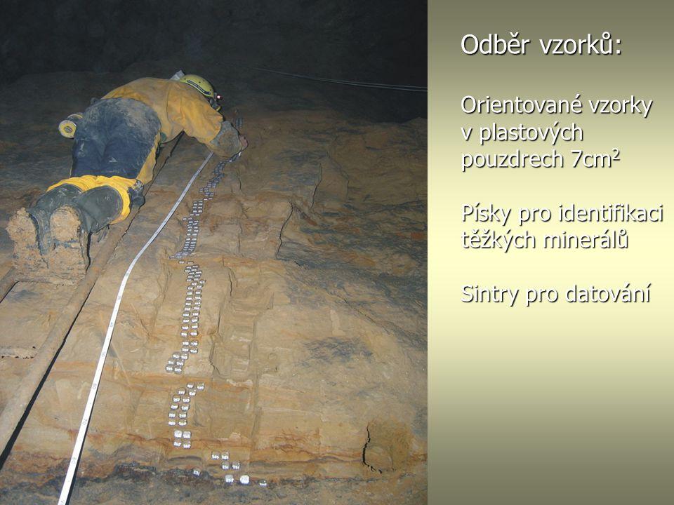 Odběr vzorků: Orientované vzorky v plastových pouzdrech 7cm 2 Písky pro identifikaci těžkých minerálů Sintry pro datování