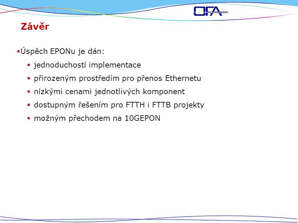 Závěr  Úspěch EPONu je dán:  jednoduchostí implementace  přirozeným prostředím pro přenos Ethernetu  nízkými cenami jednotlivých komponent  dostupným řešením pro FTTH i FTTB projekty  možným přechodem na 10GEPON