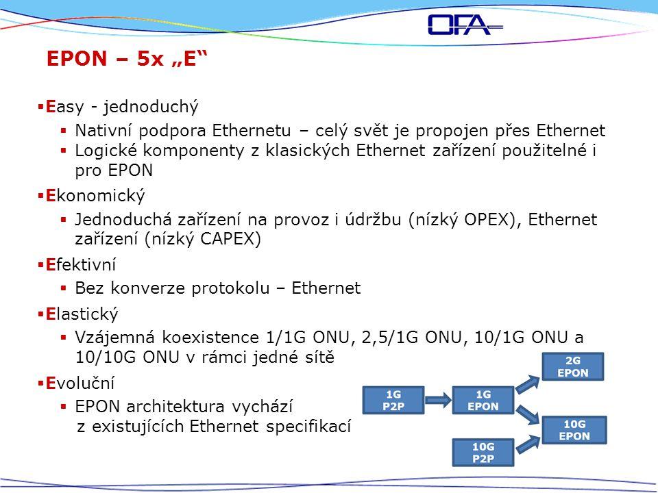 """EPON – 5x """"E  Easy - jednoduchý  Nativní podpora Ethernetu – celý svět je propojen přes Ethernet  Logické komponenty z klasických Ethernet zařízení použitelné i pro EPON  Ekonomický  Jednoduchá zařízení na provoz i údržbu (nízký OPEX), Ethernet zařízení (nízký CAPEX)  Efektivní  Bez konverze protokolu – Ethernet  Elastický  Vzájemná koexistence 1/1G ONU, 2,5/1G ONU, 10/1G ONU a 10/10G ONU v rámci jedné sítě  Evoluční  EPON architektura vychází z existujících Ethernet specifikací"""