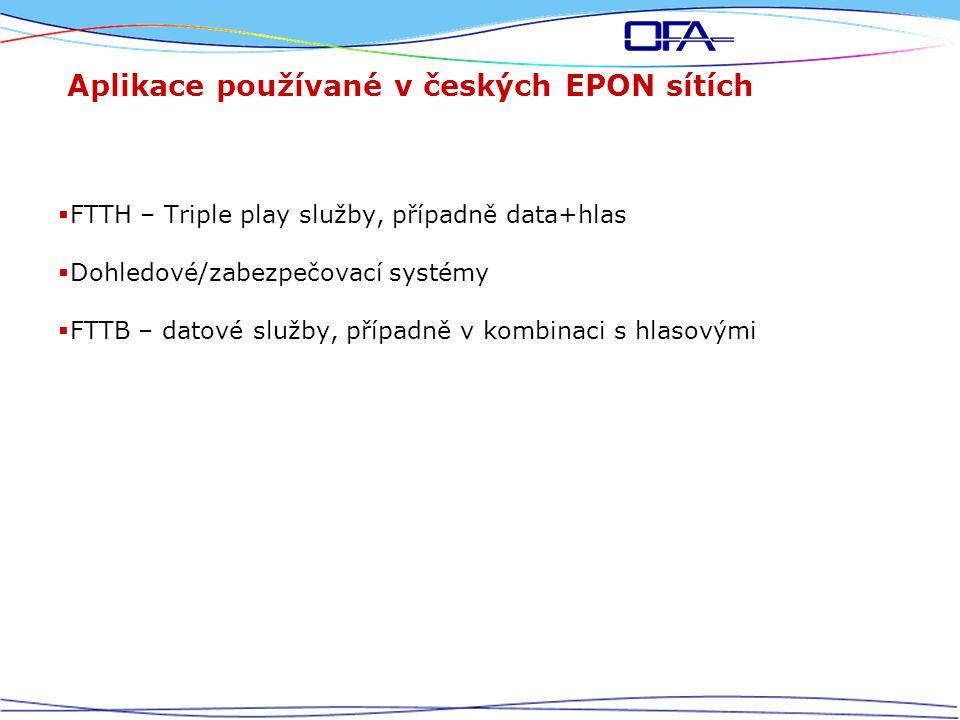 Aplikace používané v českých EPON sítích  FTTH – Triple play služby, případně data+hlas  Dohledové/zabezpečovací systémy  FTTB – datové služby, případně v kombinaci s hlasovými