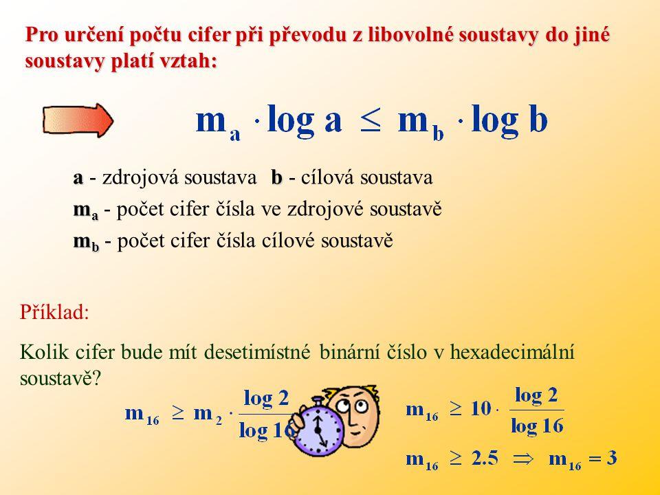 dvojkové a šestnáctkové soustavě Počet řádových míst pro vyjádření dekadických čísel ve dvojkové a šestnáctkové soustavě N (10) m=log 2 (N (10) +1) za