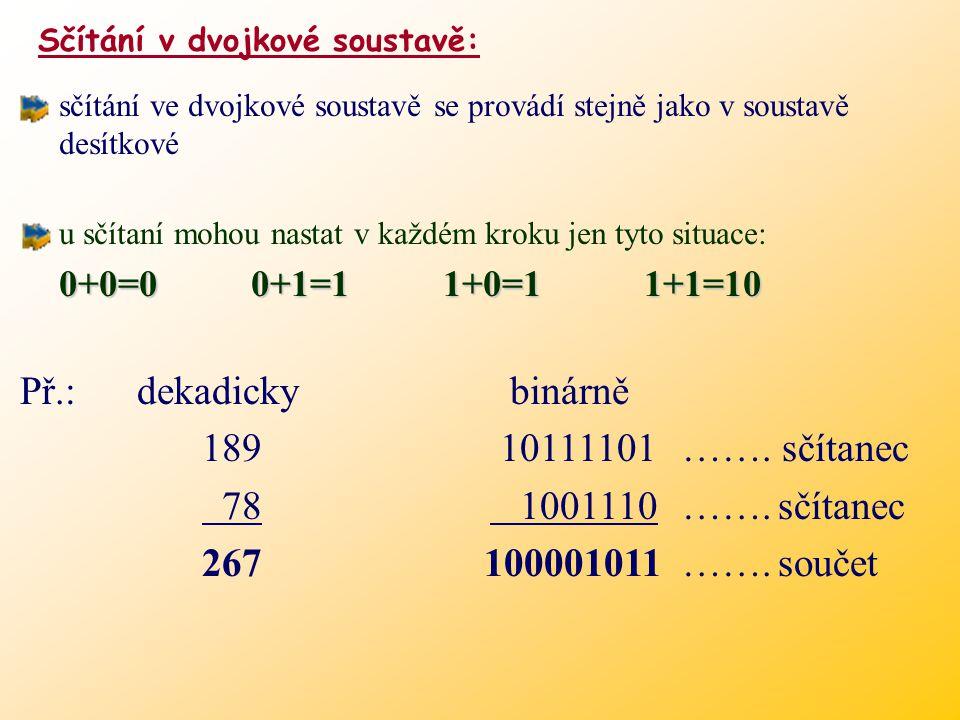 0.125. 2= 0.25 zbytek 0 0.25. 2= 0.5 zbytek 0 0.5. 2= 1 zbytek 1 0.125  0. 0 0 1 Převod desetinného čísla  Nebo použijeme metodu postupného násobení