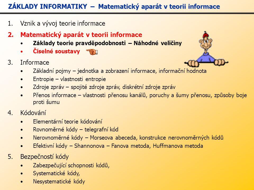 1.Vznik a vývoj teorie informace 2.Matematický aparát v teorii informace Základy teorie pravděpodobnosti – Náhodné veličiny Číselné soustavy 3.Informace Základní pojmy – jednotka a zobrazení informace, informační hodnota Entropie – vlastnosti entropie Zdroje zpráv – spojité zdroje zpráv, diskrétní zdroje zpráv Přenos informace – vlastnosti přenosu kanálů, poruchy a šumy přenosu, způsoby boje proti šumu 4.Kódování Elementární teorie kódování Rovnoměrné kódy – telegrafní kód Nerovnoměrné kódy – Morseova abeceda, konstrukce nerovnoměrných kódů Efektivní kódy – Shannonova – Fanova metoda, Huffmanova metoda 5.Bezpečností kódy Zabezpečující schopnosti kódů, Systematické kódy, Nesystematické kódy ZÁKLADY INFORMATIKY – Matematický aparát v teorii informace ZÁKLADY INFORMATIKY – Matematický aparát v teorii informace