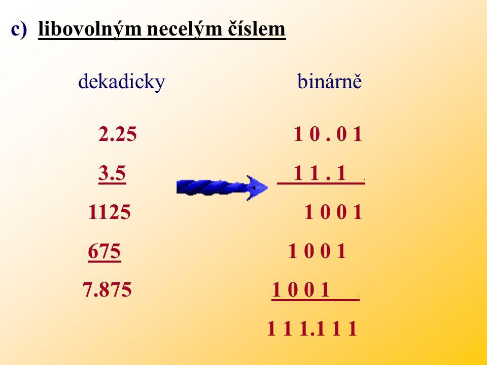 číslem 2 k 7 x 4 = 28 1 1 1 x 2 2 = 1 1 1 0 0 9 x 6 = 54 1 0 0 1 1 1 0 0 0 0 0 1 0 0 1 1 0 0 1. 1 1 0 1 1 0 Násobení ve dvojkové soustavě: b) libovoln