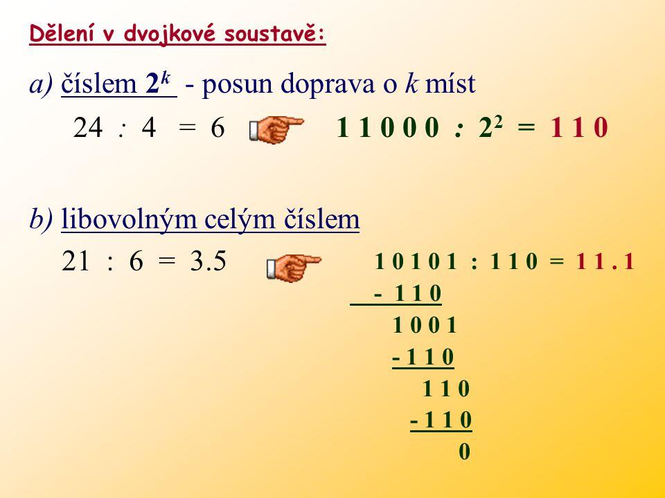 c) libovolným necelým číslem dekadickybinárně 2.25 1 0. 0 1 3.5 1 1. 1. 1125 1 0 0 1 675 1 0 0 1 7.875 1 0 0 1. 1 1 1.1 1 1