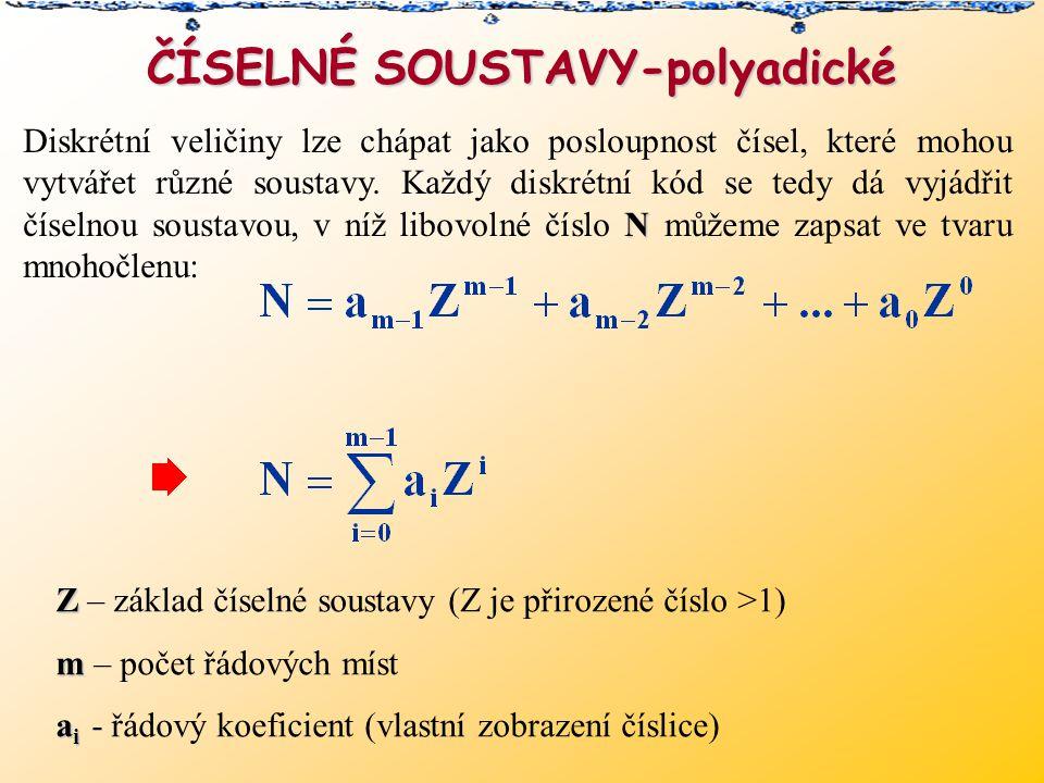 ČÍSELNÉ SOUSTAVY-polyadické N Diskrétní veličiny lze chápat jako posloupnost čísel, které mohou vytvářet různé soustavy.