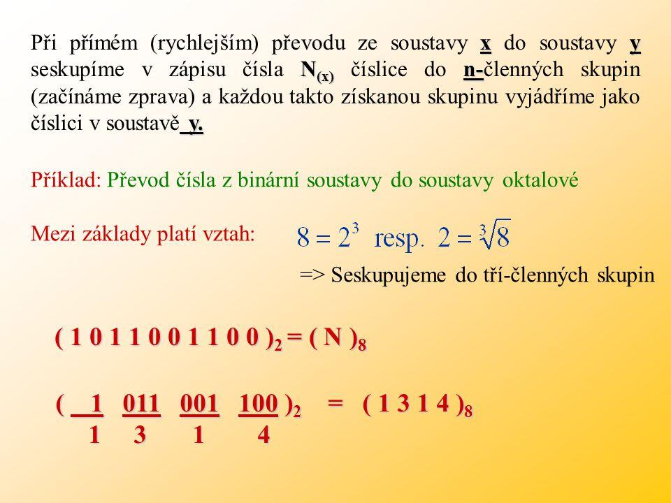 Vzájemné převody mezi číselnými soustavami Vzájemné převody mezi číselnými soustavami y Obecně se přepočet ze soustavy x do soustavy y provádí ve dvou