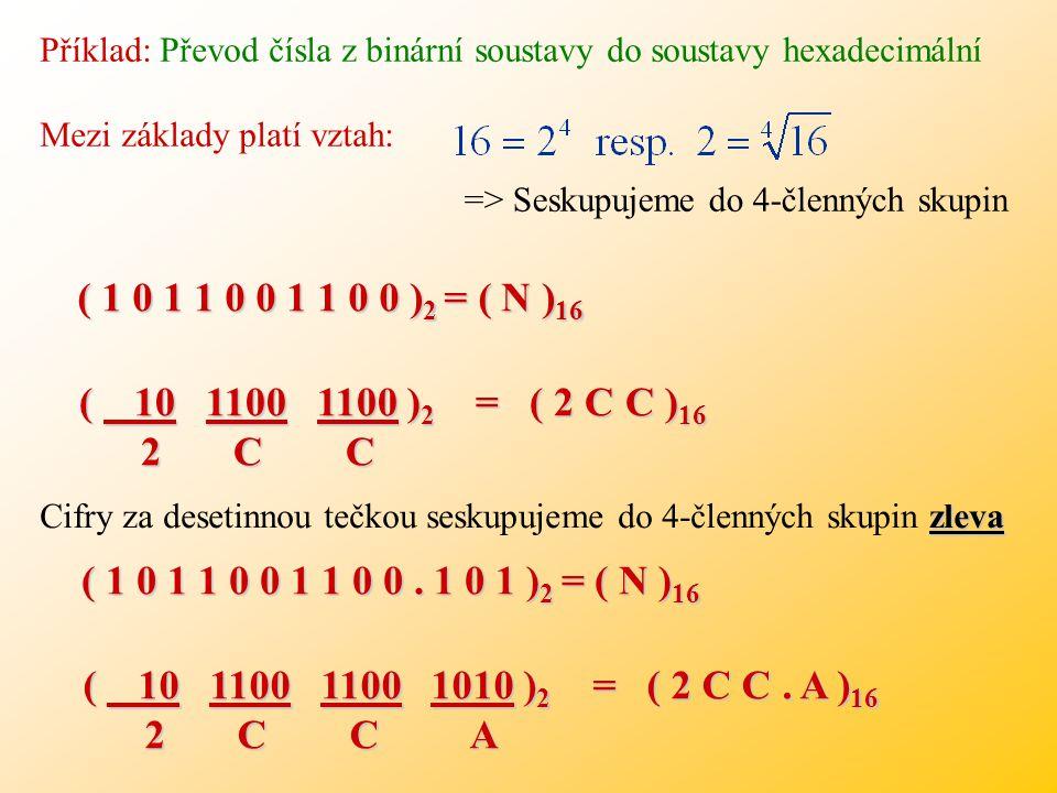 xy N (x) n- y. Při přímém (rychlejším) převodu ze soustavy x do soustavy y seskupíme v zápisu čísla N (x) číslice do n-členných skupin (začínáme zprav