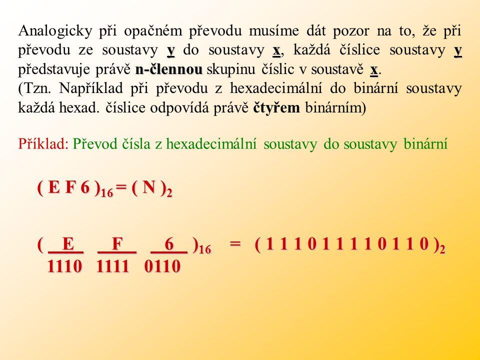Příklad: Převod čísla z binární soustavy do soustavy hexadecimální Mezi základy platí vztah: ( 1 0 1 1 0 0 1 1 0 0 ) 2 = ( N ) 16 => Seskupujeme do 4-