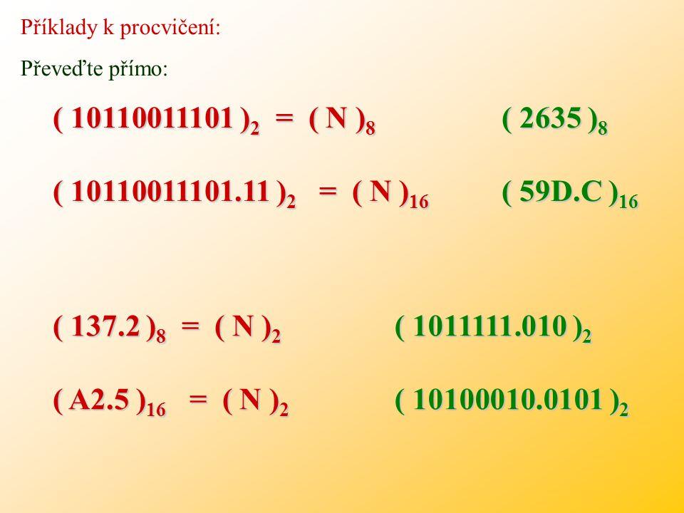 Příklady k procvičení: Vypočtěte v dané soustavě: (4 4) 8 (2 4) 16 (1011,110) 2 (4 4) 8 (2 4) 16 (1011,110) 2 (3 4) 8 (1C) 16 (1010,101) 2 (3 4) 8 (1C