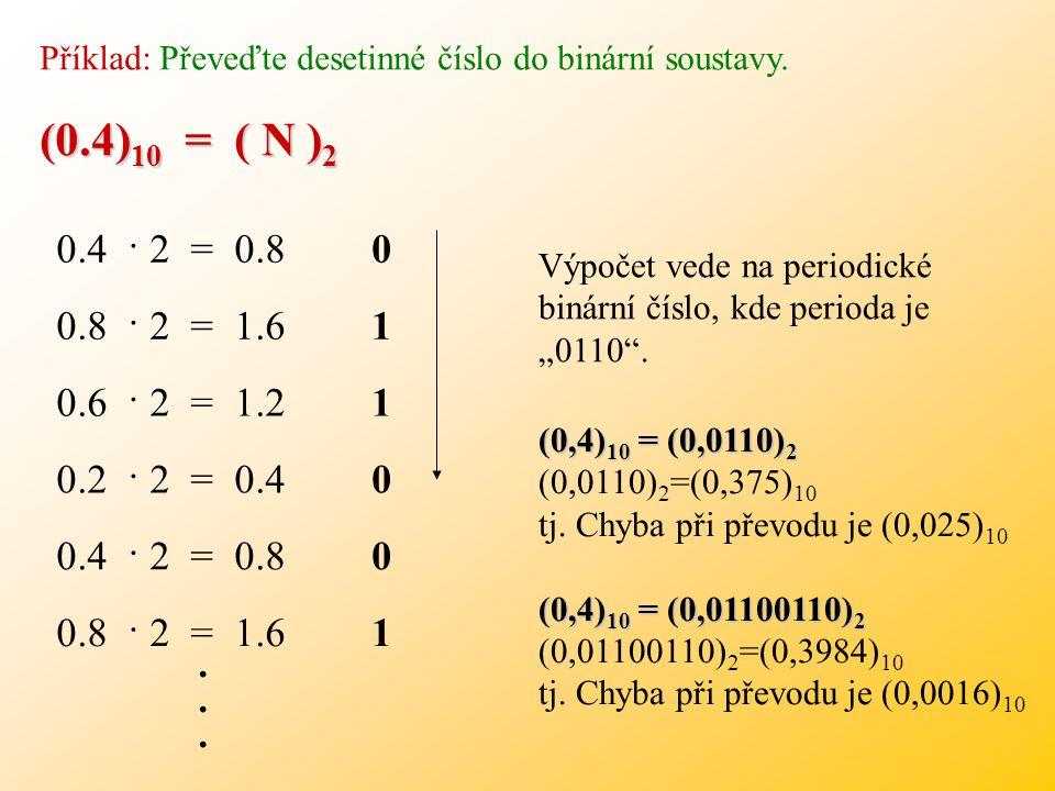 Příklady k procvičení: Převeďte přímo: ( 137.2 ) 8 = ( N ) 2 ( A2.5 ) 16 = ( N ) 2 ( 1011111.010 ) 2 ( 10100010.0101 ) 2 ( 10110011101 ) 2 = ( N ) 8 (
