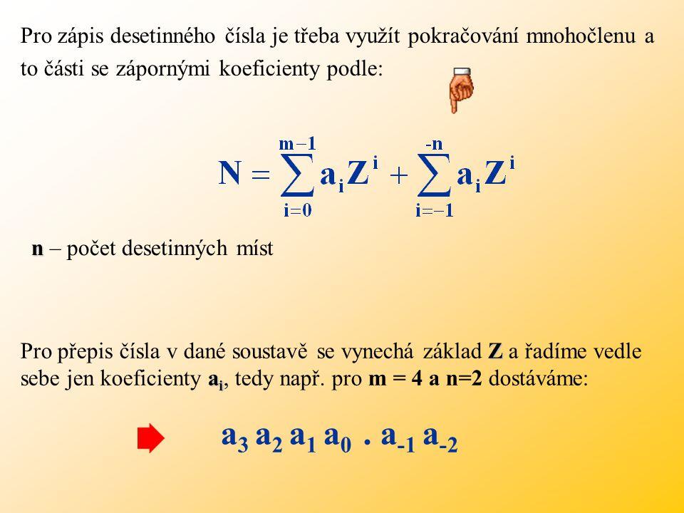 Příklad: Převod čísla z binární soustavy do soustavy hexadecimální Mezi základy platí vztah: ( 1 0 1 1 0 0 1 1 0 0 ) 2 = ( N ) 16 => Seskupujeme do 4-členných skupin ( 10 1100 1100 ) 2 = ( 2 C C ) 16 2 C C 2 C C ( 1 0 1 1 0 0 1 1 0 0.