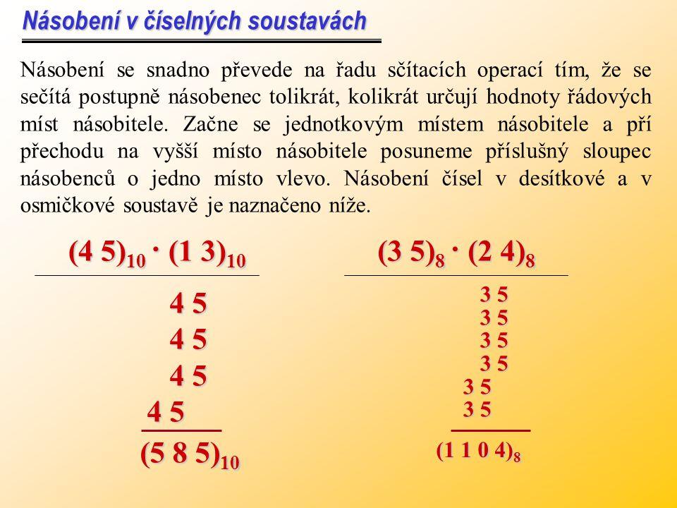 (0.4) 10 = ( N ) 2 Příklad: Převeďte desetinné číslo do binární soustavy. 0.4 · 2 = 0.80 0.8 · 2 = 1.61 0.6 · 2 = 1.21 0.2 · 2 = 0.40 0.4 · 2 = 0.80 0