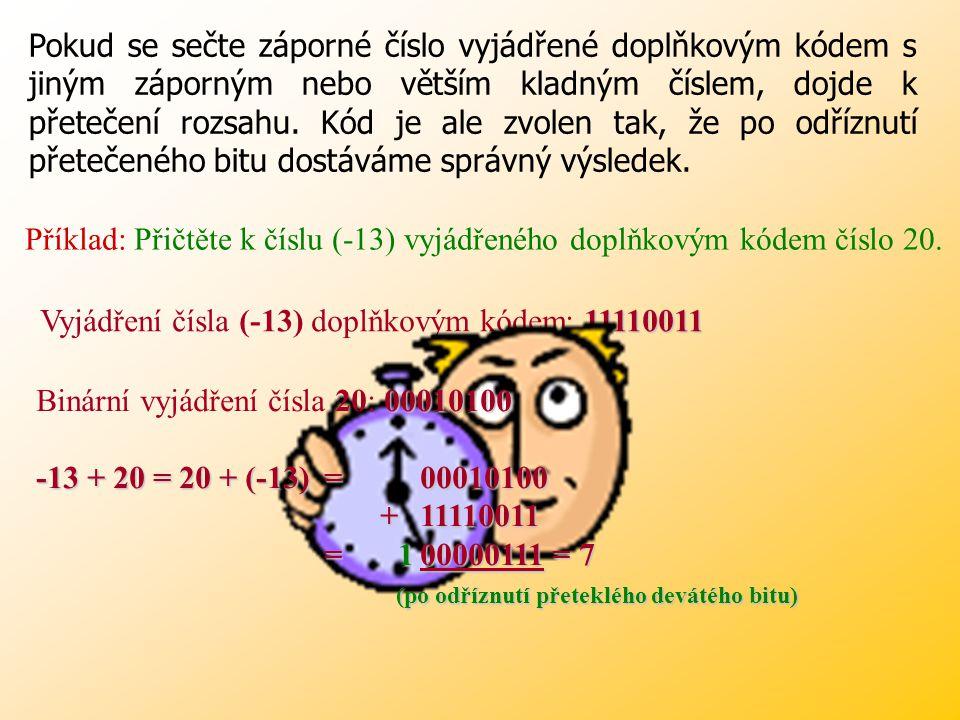 Doplňkový kód Doplňkový kód záporné číslo je zaznamenáno jako binární negace (záměna všech 0 za 1) původního čísla zvětšená o 1, úvodní bit má v tomto