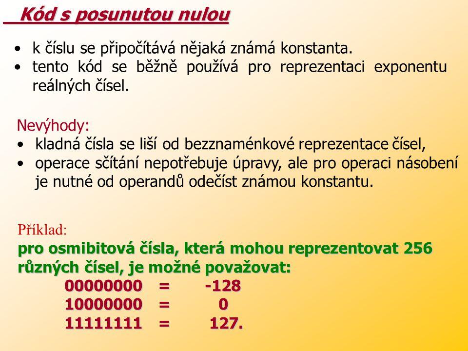 Inverzní kód Inverzní kód doplněk ke dvěma výše uvedeným metodám, jakýsi mezikrok – kladná čísla se vyjadřují normálním způsobem, záporná čísla se vyj
