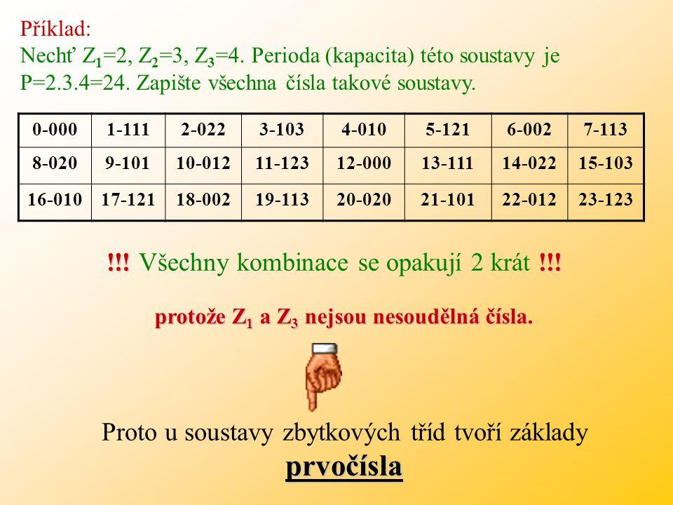 11:2 = 5R 1 = 1 11:3 = 3R 2 = 2 11:5 = 2R 3 = 1 Zápis čísla bude 11 (10) = 121 (Z235) Příklad: Nechť Z 1 =2, Z 2 =3, Z 3 =5. Převeďte číslo 11 do sous
