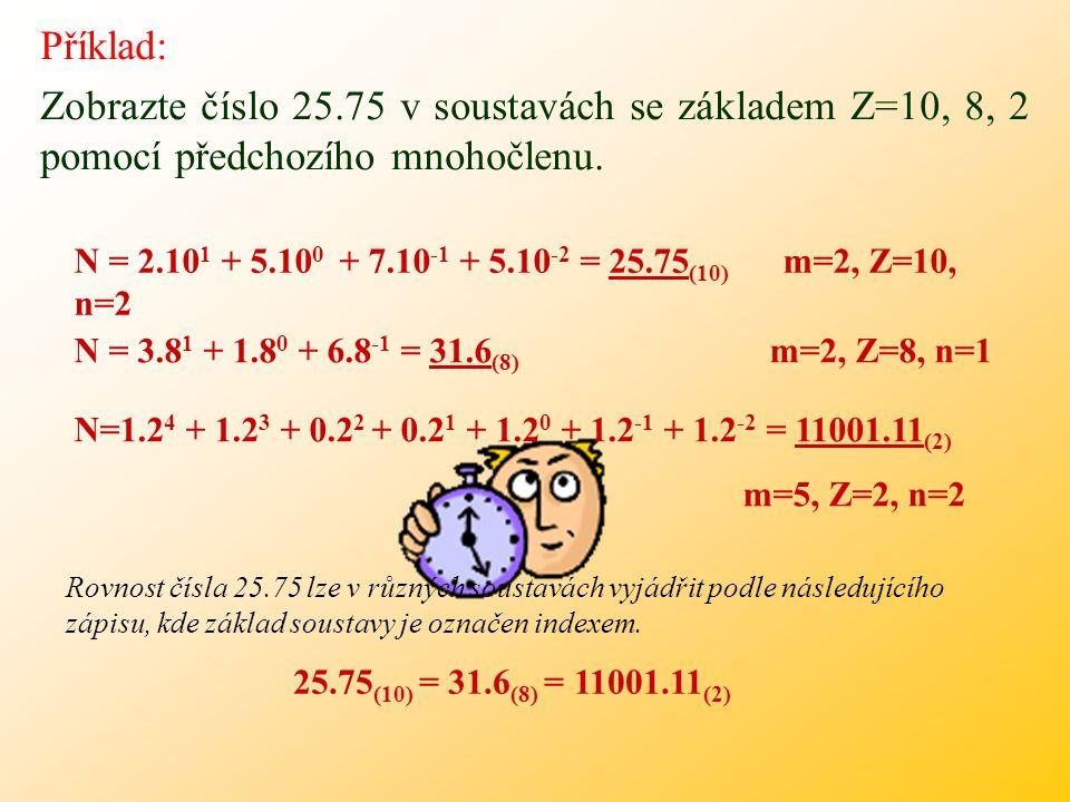 Příklad: Zobrazte číslo 12 v soustavách se základem Z=10, 8, 2 pomocí předchozího mnohočlenu. N=1.10 1 + 2.10 0 = 12 (10) N=1.8 1 + 4.8 0 = 14 (8) N=1