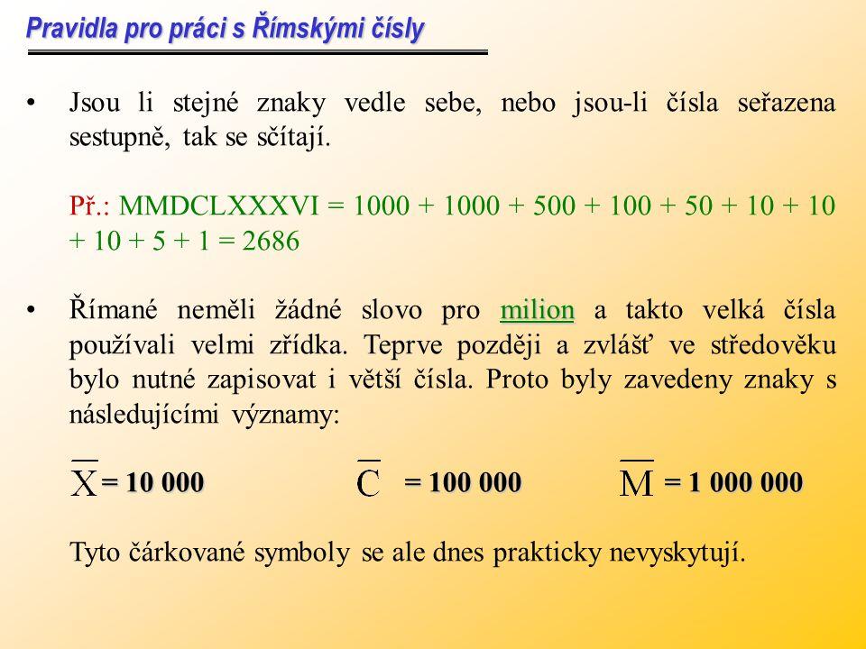 Římské číslice se zapisují až na výjimky zprava doleva. Římané obvykle psali číslo 4 jako IIII, číslo 40 jako XXXX, číslo 999 jako DCCCCLXXXXVIIII. Ke