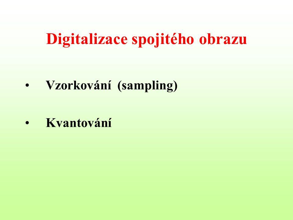 Digitalizace spojitého obrazu Vzorkování (sampling) Kvantování
