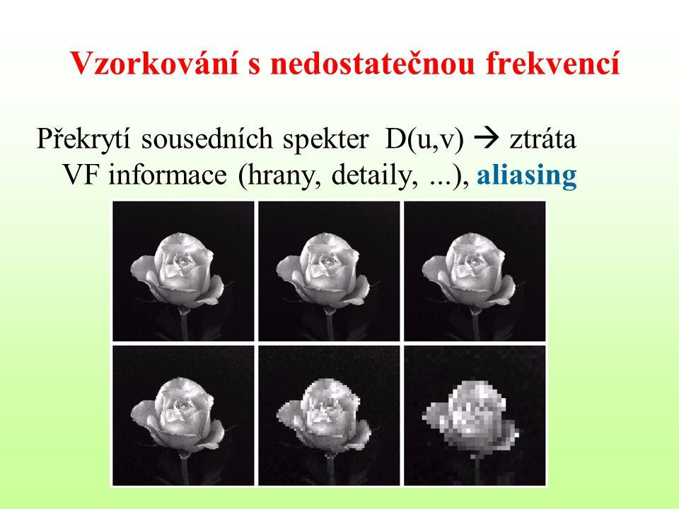 Vzorkování s nedostatečnou frekvencí Překrytí sousedních spekter D(u,v)  ztráta VF informace (hrany, detaily,...), aliasing