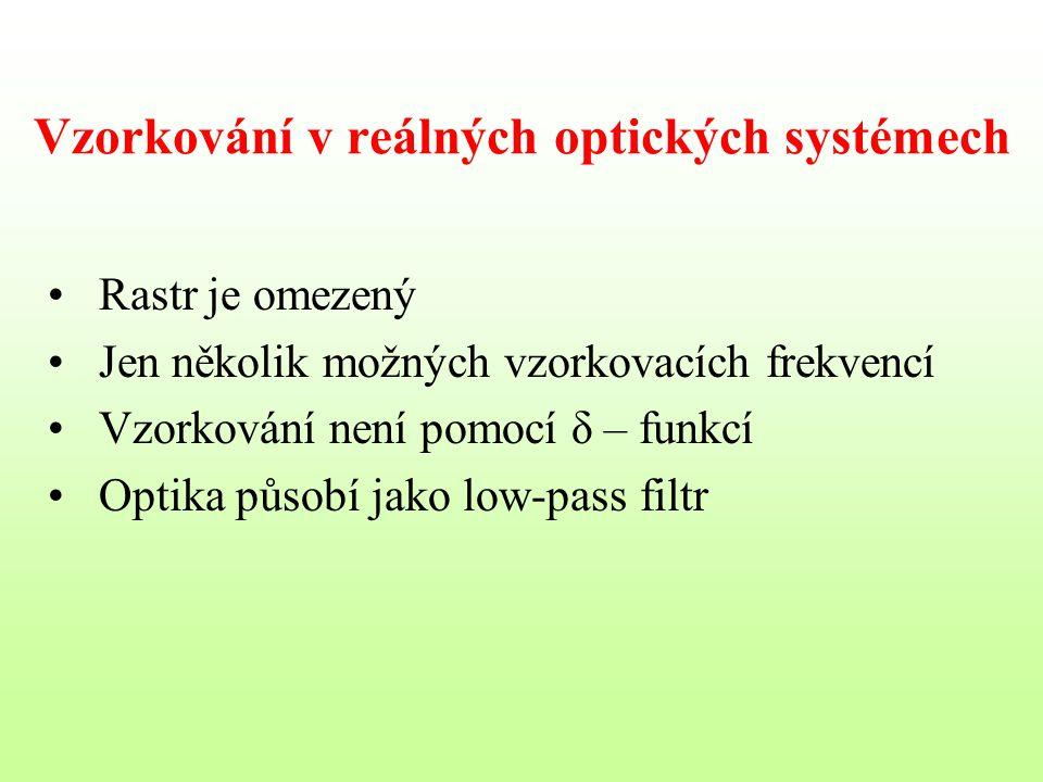 Vzorkování v reálných optických systémech Rastr je omezený Jen několik možných vzorkovacích frekvencí Vzorkování není pomocí δ – funkcí Optika působí