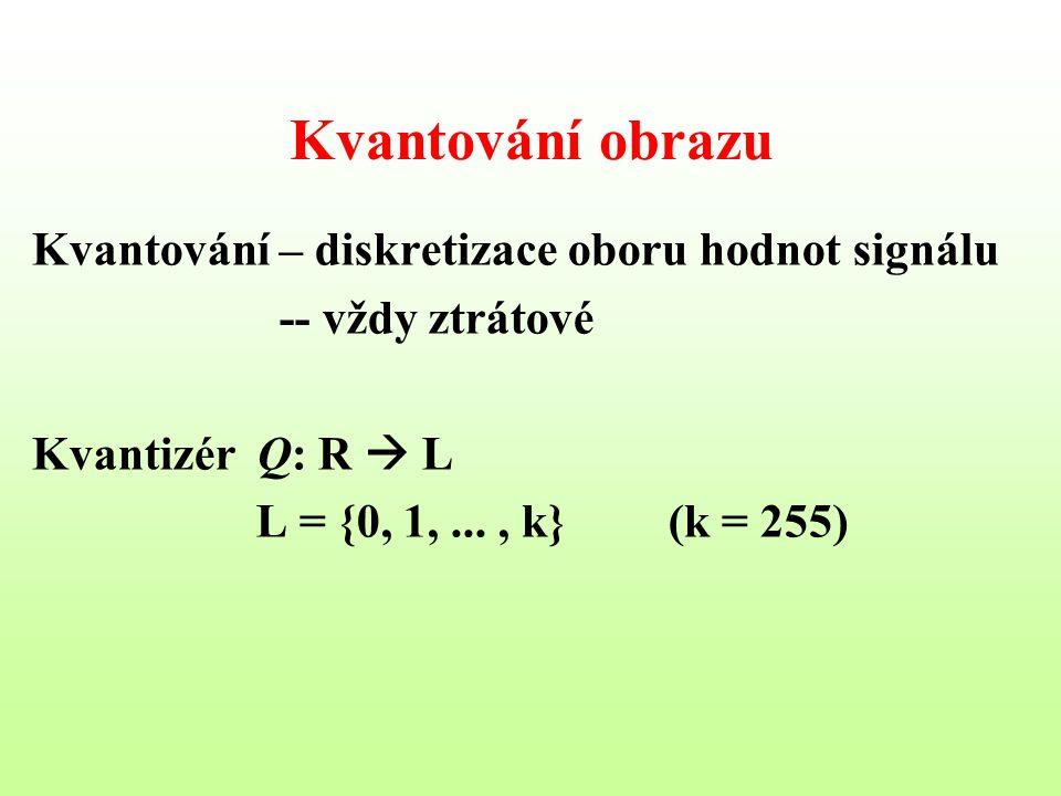 Kvantování obrazu Kvantování – diskretizace oboru hodnot signálu -- vždy ztrátové Kvantizér Q: R  L L = {0, 1,..., k}(k = 255)