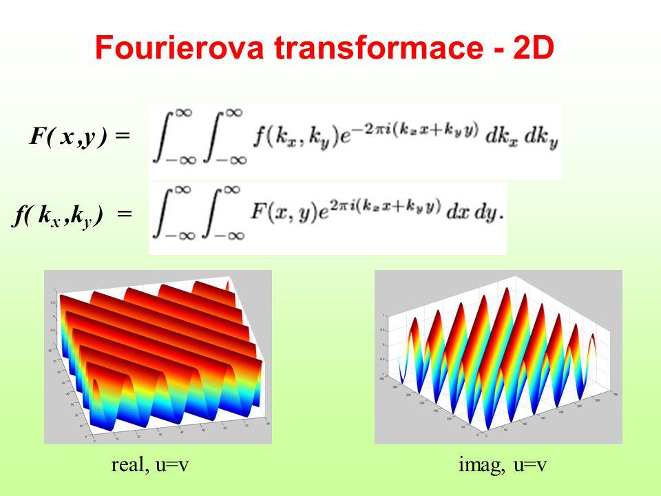 Fourierova transformace - 2D F( x,y ) = f( k x,k y ) = real, u=vimag, u=v