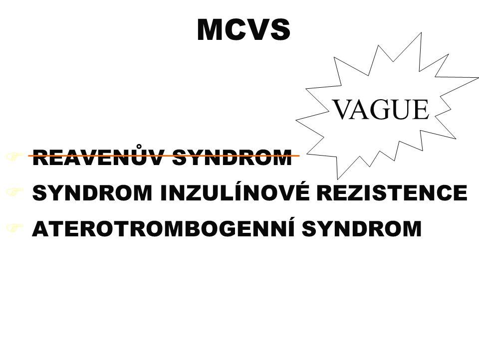 MCVS  REAVENŮV SYNDROM  SYNDROM INZULÍNOVÉ REZISTENCE  ATEROTROMBOGENNÍ SYNDROM VAGUE