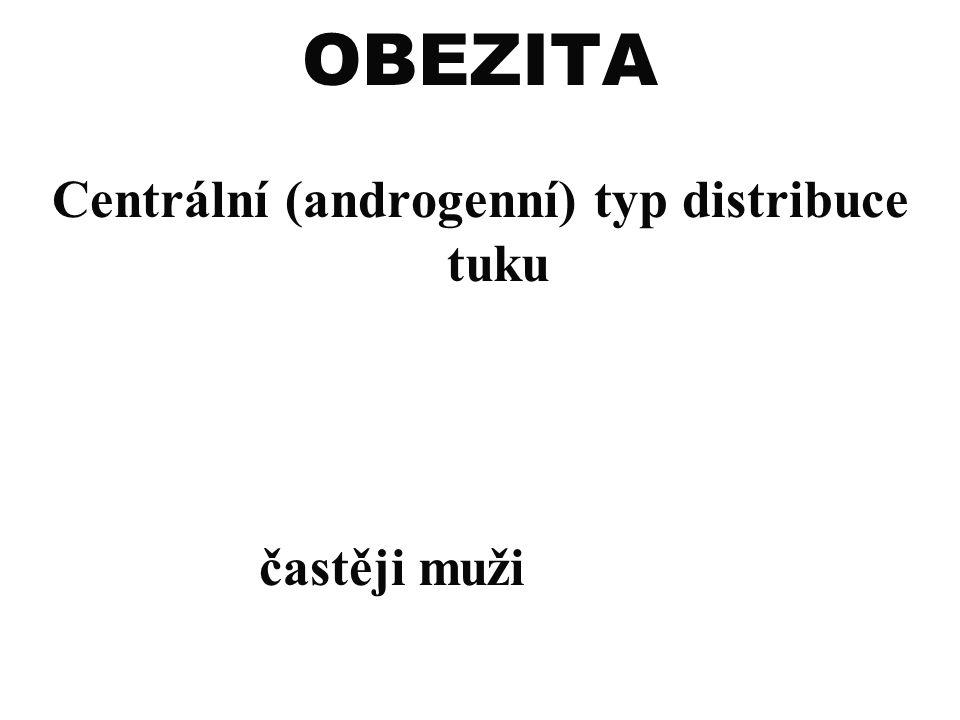 OBEZITA Centrální (androgenní) typ distribuce tuku častěji muži