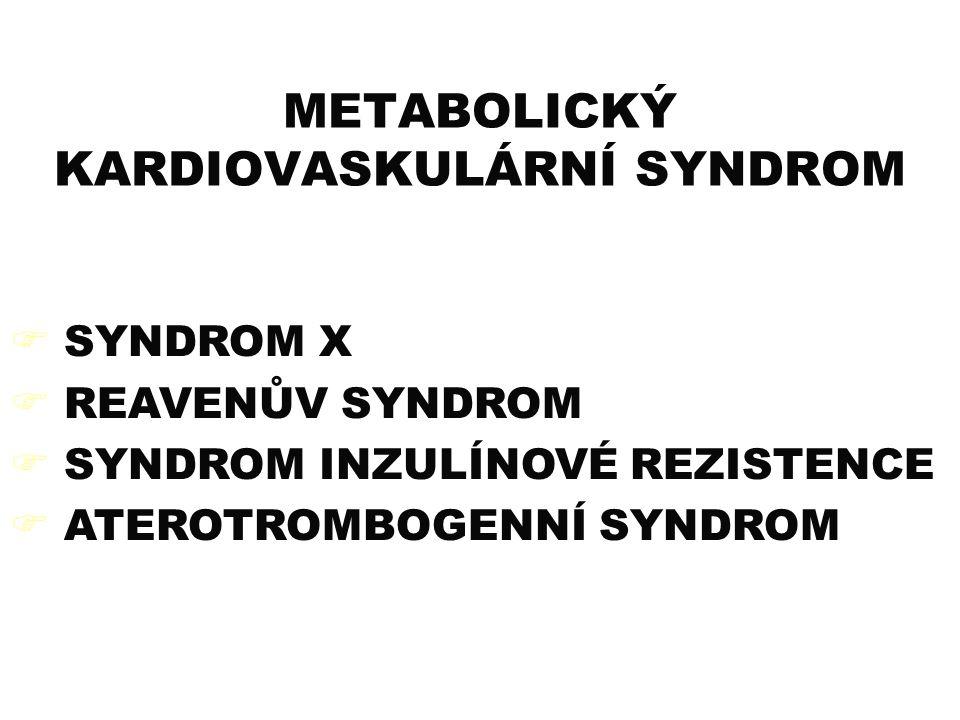 METABOLICKÝ KARDIOVASKULÁRNÍ SYNDROM  SYNDROM X  REAVENŮV SYNDROM  SYNDROM INZULÍNOVÉ REZISTENCE  ATEROTROMBOGENNÍ SYNDROM