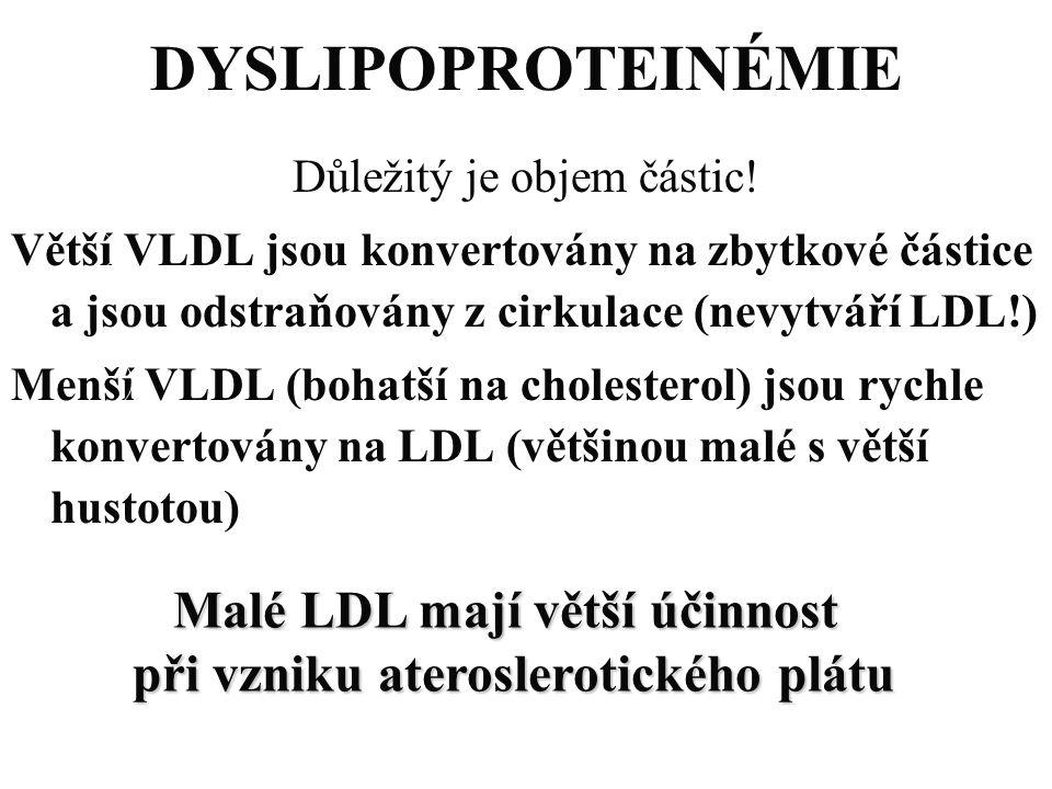 DYSLIPOPROTEINÉMIE Důležitý je objem částic! Větší VLDL jsou konvertovány na zbytkové částice a jsou odstraňovány z cirkulace (nevytváří LDL!) Menší V