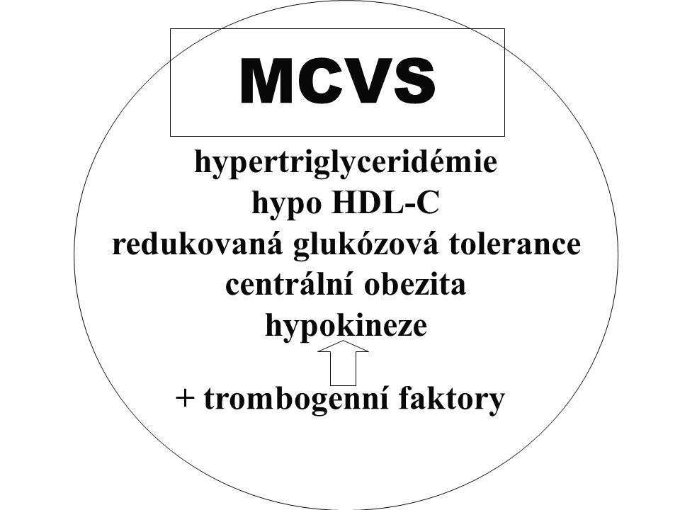 hypertriglyceridémie hypo HDL-C redukovaná glukózová tolerance centrální obezita hypokineze + trombogenní faktory MCVS