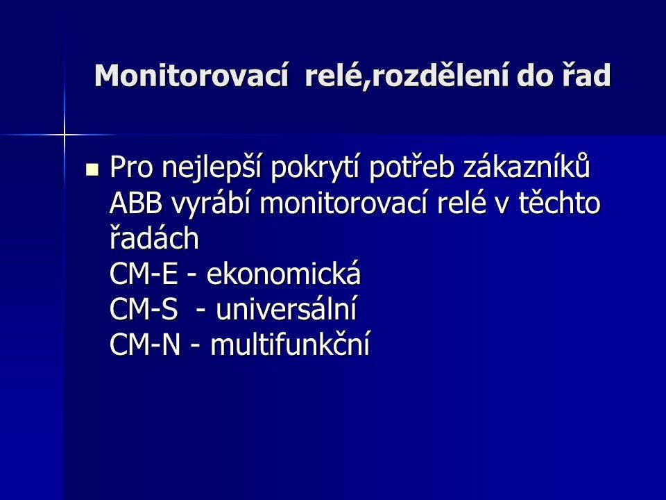 Monitorovací relé,rozdělení do řad Pro nejlepší pokrytí potřeb zákazníků ABB vyrábí monitorovací relé v těchto řadách CM-E - ekonomická CM-S - univers