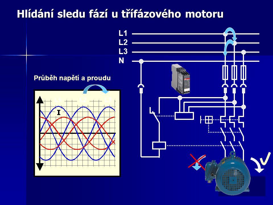 Hlídání sledu fází u třífázového motoru Průběh napětí a proudu L1 L2 L3 N L1L2L3