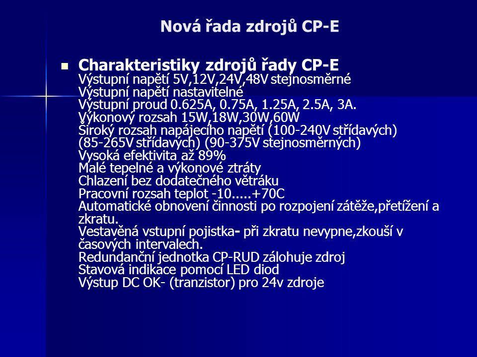 Charakteristiky zdrojů řady CP-E Výstupní napětí 5V,12V,24V,48V stejnosměrné Výstupní napětí nastavitelné Výstupní proud 0.625A, 0.75A, 1.25A, 2.5A, 3