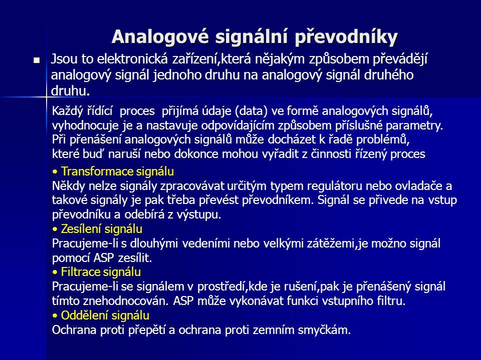 Analogové signální převodníky Jsou to elektronická zařízení,která nějakým způsobem převádějí analogový signál jednoho druhu na analogový signál druhéh