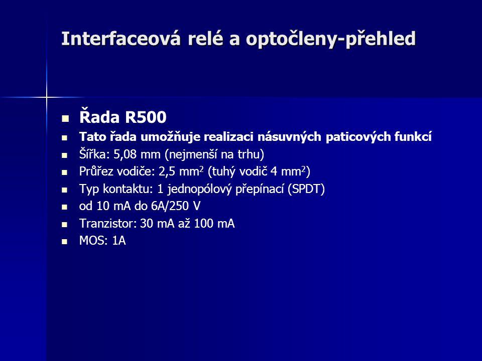 Interfaceová relé a optočleny-přehled Řada R500 Tato řada umožňuje realizaci násuvných paticových funkcí Šířka: 5,08 mm (nejmenší na trhu) Průřez vodi