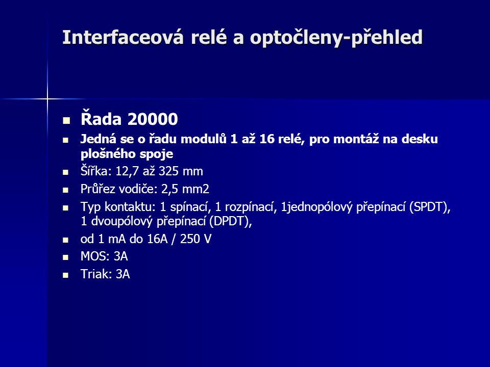 Interfaceová relé a optočleny-přehled Řada 20000 Jedná se o řadu modulů 1 až 16 relé, pro montáž na desku plošného spoje Šířka: 12,7 až 325 mm Průřez