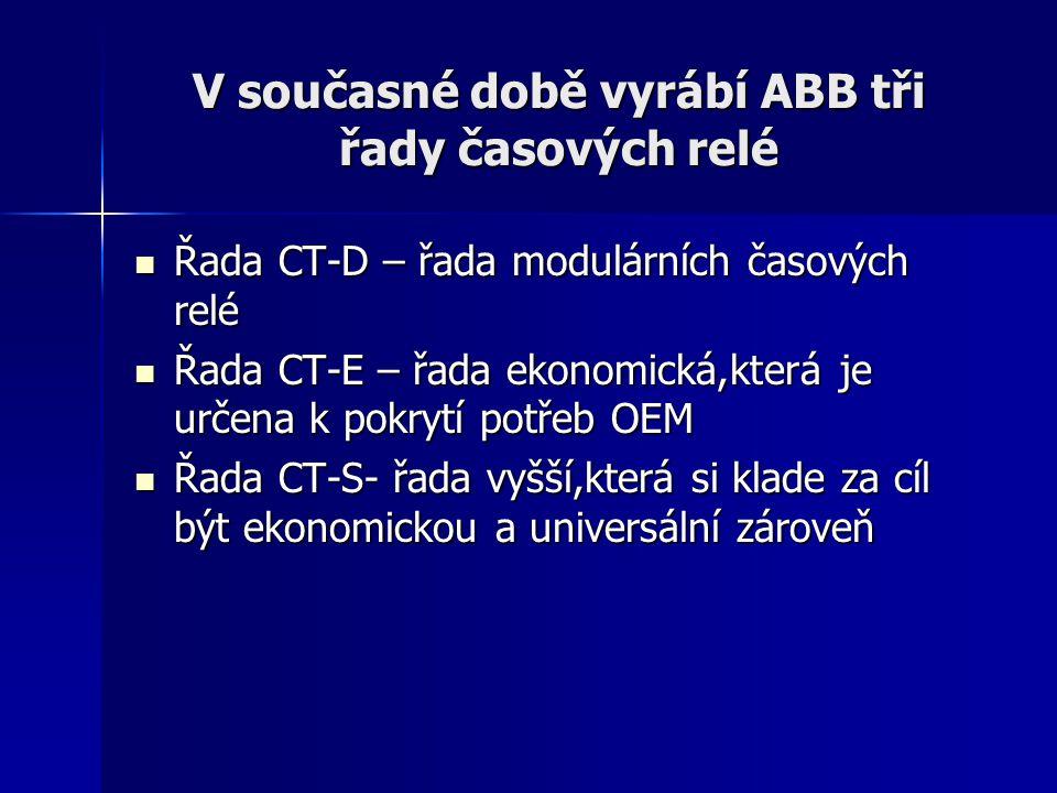 V současné době vyrábí ABB tři řady časových relé Řada CT-D – řada modulárních časových relé Řada CT-D – řada modulárních časových relé Řada CT-E – řa